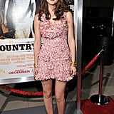 Wearing a red and white Christian Dior minidress at the LA Country Strong premiere in 2010.