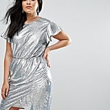 ASOS Curve Sequin Wrap Dress with Tie Neck