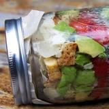 Look Forward to Lunch! Chicken Caesar Kale Salad in a Jar