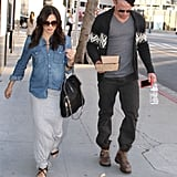Jenna Dewan's baby bump was showing under her denim shirt for a lunch date with husband Channing Tatum.