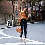 An Off-the-Shoulder Fuzzy Knit With High-Waisted Jeans and Leopard Pumps