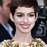 The floral collar on her dress only complemented the actress's glowing complexion and berry-hued lips.