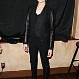 Evan Rachel Wood's all-black ensemble was a timeless classic with a rock-chic spin. We particularly love her leather-sleeved jacket.