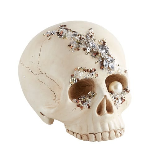 Bejeweled Skull Halloween Decor