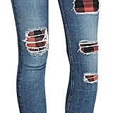 Rag & Bone The Skinny Sloane Plaid Repair Patch Jeans ($396)