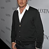 Jason Lewis on the black carpet of Valentino's 50th anniversary party in LA.