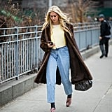 Winter Outfit Idea: A Furry Coat Over Mom Jeans