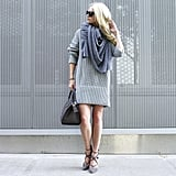 A Sweater Dress, a Scarf, and Lace-Up Shoes