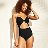Shore Light Lift Ribbed Tie Front Cut Out One-Piece Swimsuit