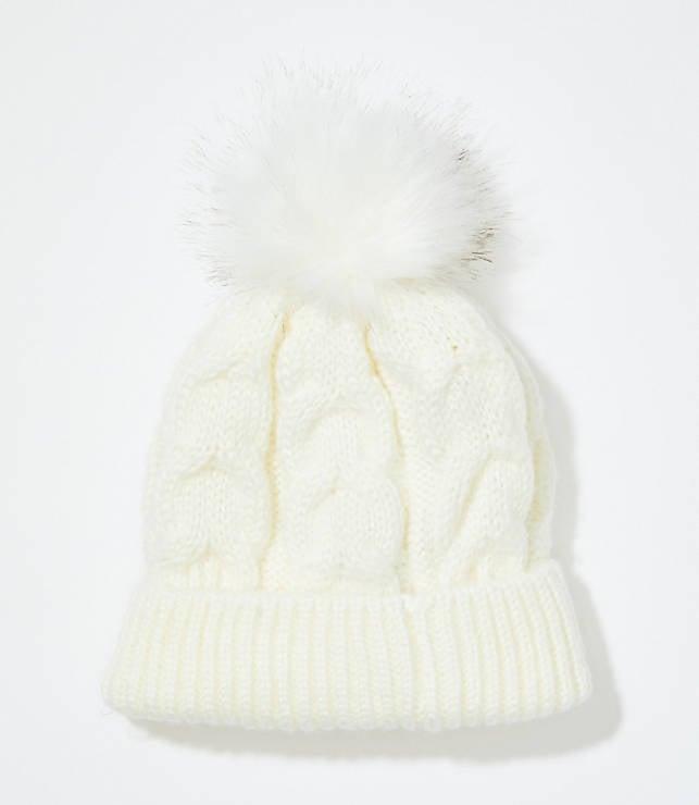Cable Faux Fur Pom Pom Hat