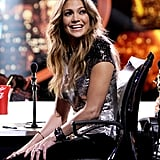 Jennifer Lopez wore a metallic top on American Idol.
