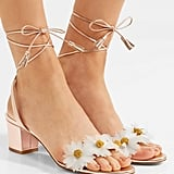 Charlotte Olympia Tara Appliquéd Metallic Leather Sandals