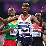 Team GB's Mohamed Farah had a look of shock and awe after crossing the finish line to win gold.