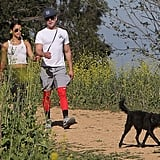Cute couple Zac Efron and Sami Miró took their dog on a walk at LA's Griffith Park on Sunday.