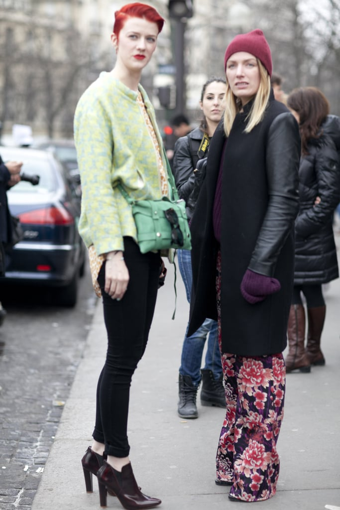 One nails bold color; the other perfects the floral pants trend.