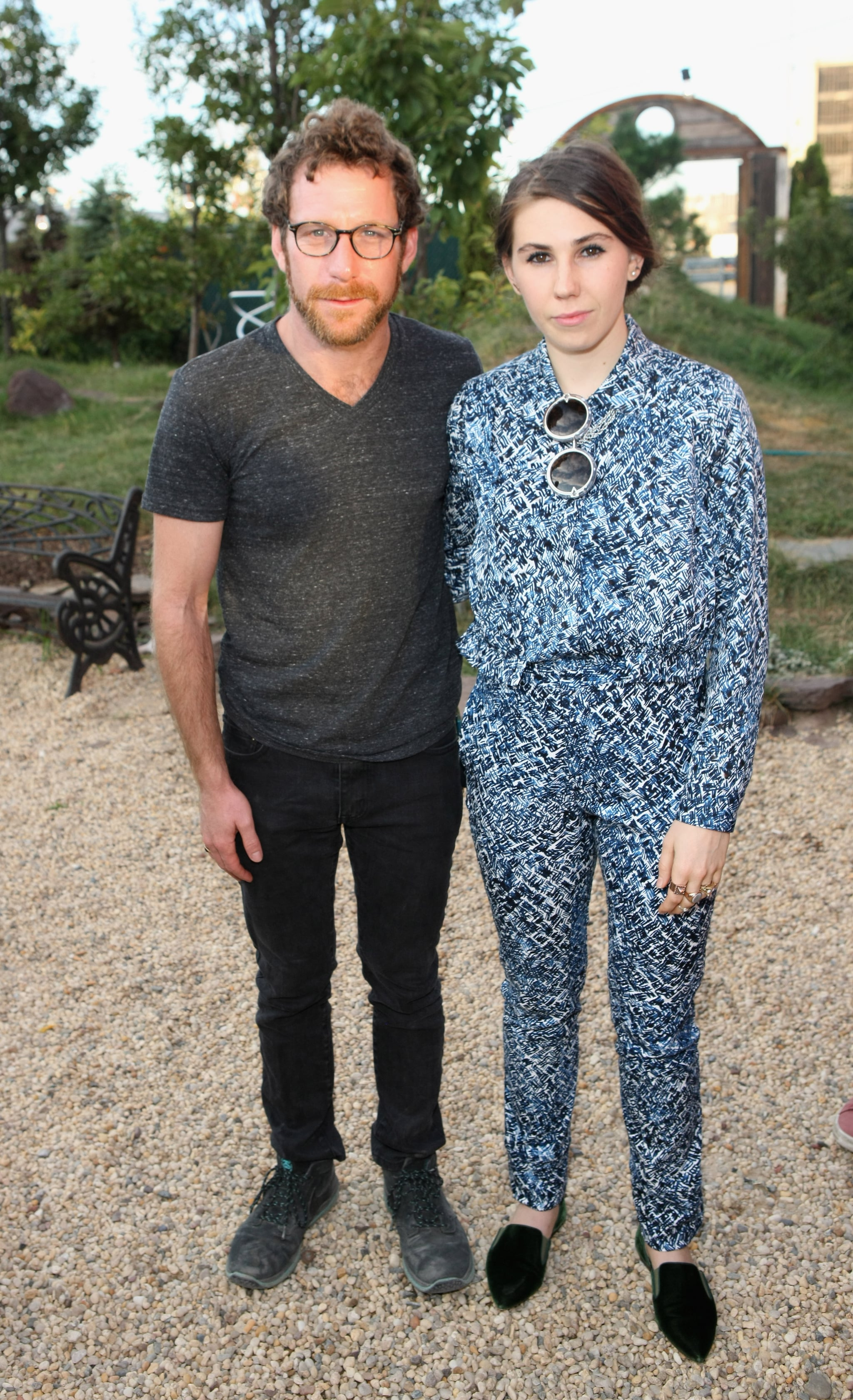 Dustin Yellin and Zosia Mamet posed together at Rachel Comey's Brooklyn dinner and presentation on Wednesday.