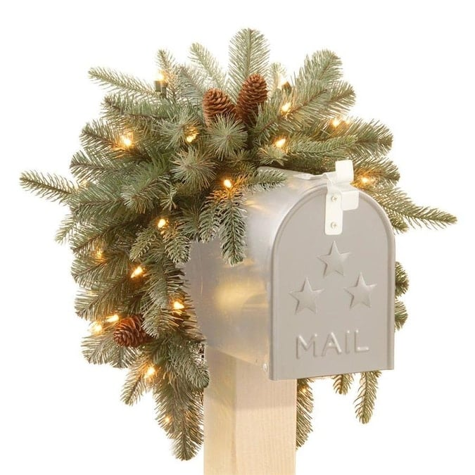 National Tree Company 6-in Hanging Mailbox Mailbox Cover with White LED Lights