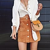 A Suede Skirt, Crop Top, and Button-Down