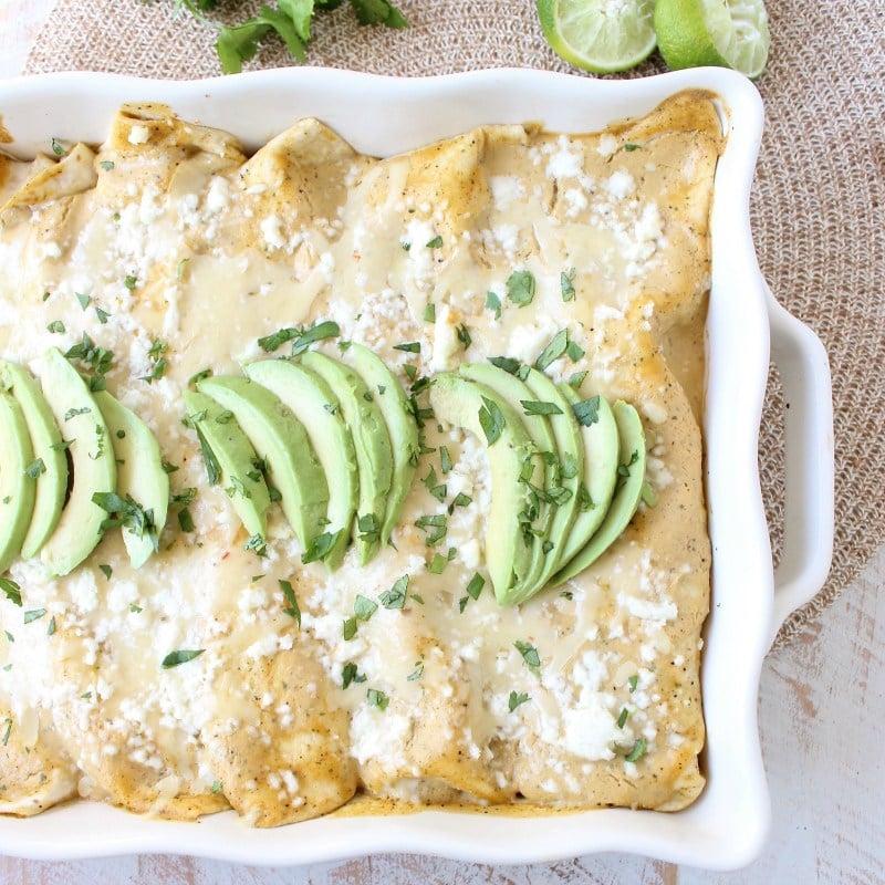 Cheesy Avocado and Corn Enchiladas