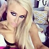 Paris showed off her intense eye makeup in this selfie.  Source: Instagram user parishilton