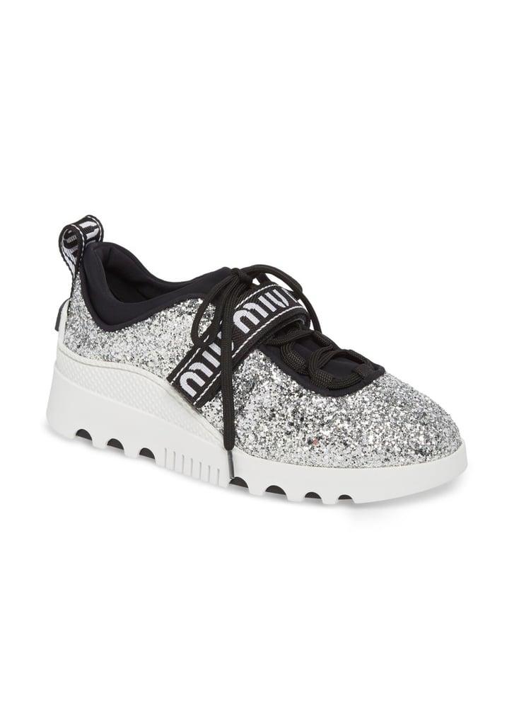 e57ce76663 Miu Miu Women s Logo-Strap Glitter Platform Sneakers