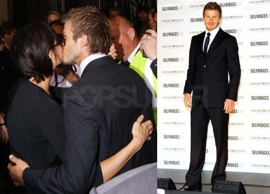 Photos of David Beckham Revealing His Armani Underwear Ad in Selfridges with Victoria Kissing Him