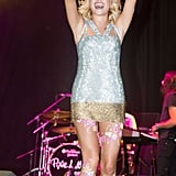Pixie Lott went for sparkle in her body art and outfit.
