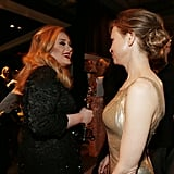 Adele and Renée Zellweger backstage at the 2013 Oscars.