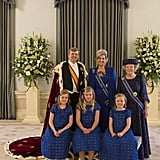 King Willem-Alexander and Queen Maxima of the Netherlands posed with former Queen Beatrix and daughters Alexia, Catharina-Amalia, and Ariane.
