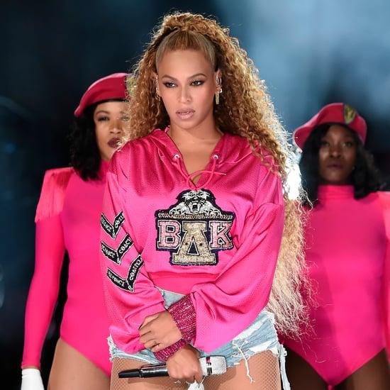 Beyoncé's Black Versace Dress and Pink Platform Heels