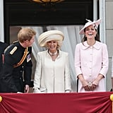 He leaned over and had Kate and Camilla, Duchess of Cornwall, laughing as the royal family stood on the Buckingham Palace balcony for Trooping the Colour in June 2013.