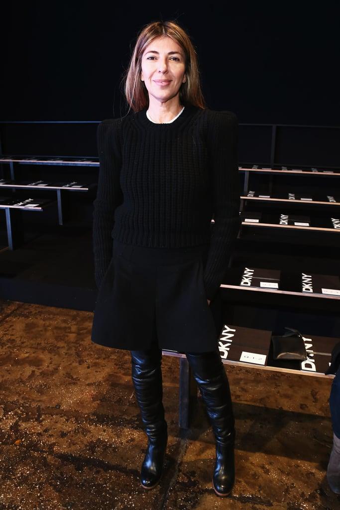 Nina Garcia looked appropriately fashion-forward in all black at DKNY.