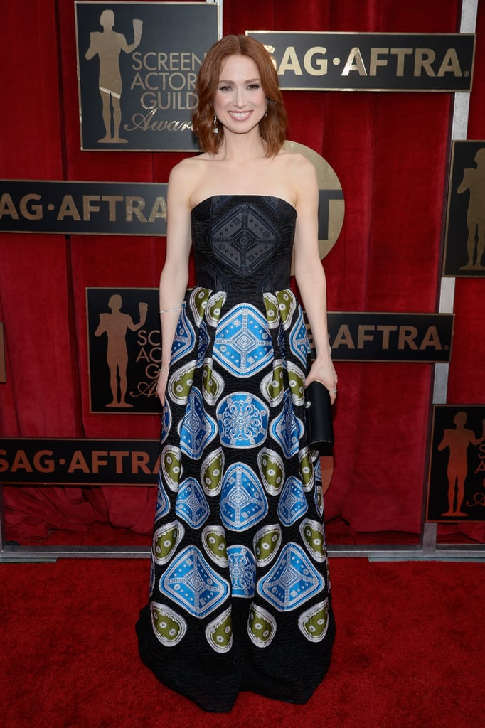 Ellie Kemper in a printed Peter Pilotto strapless gown.