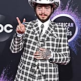 Post Malone's Checkered Black and White Suit at the AMAs