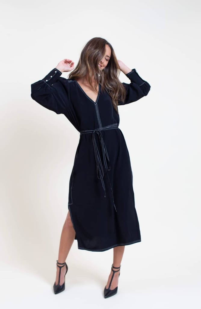 Something Navy Side-Slit Midi Dress