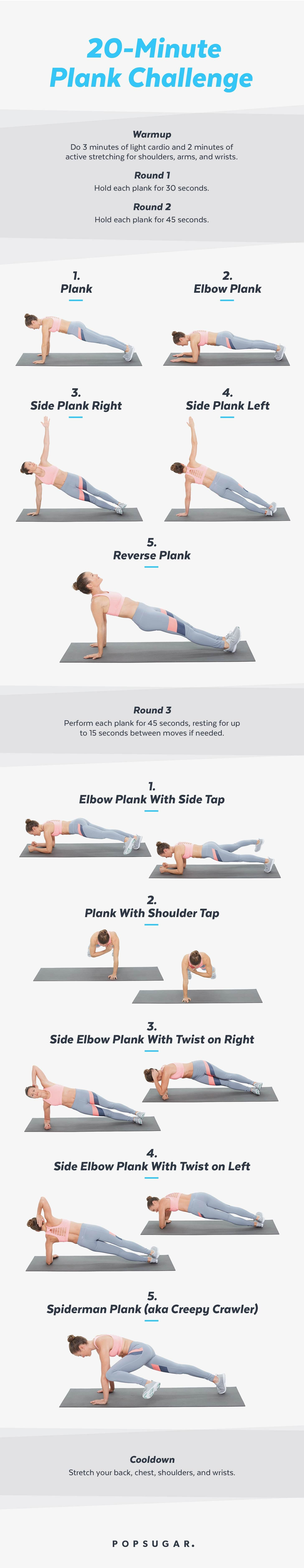 image relating to Plank Challenge Printable titled Printable Plank Issue Exercise routine POPSUGAR Health
