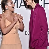 Florence Pugh and Timothée Chalamet at the Little Women Premiere in Paris