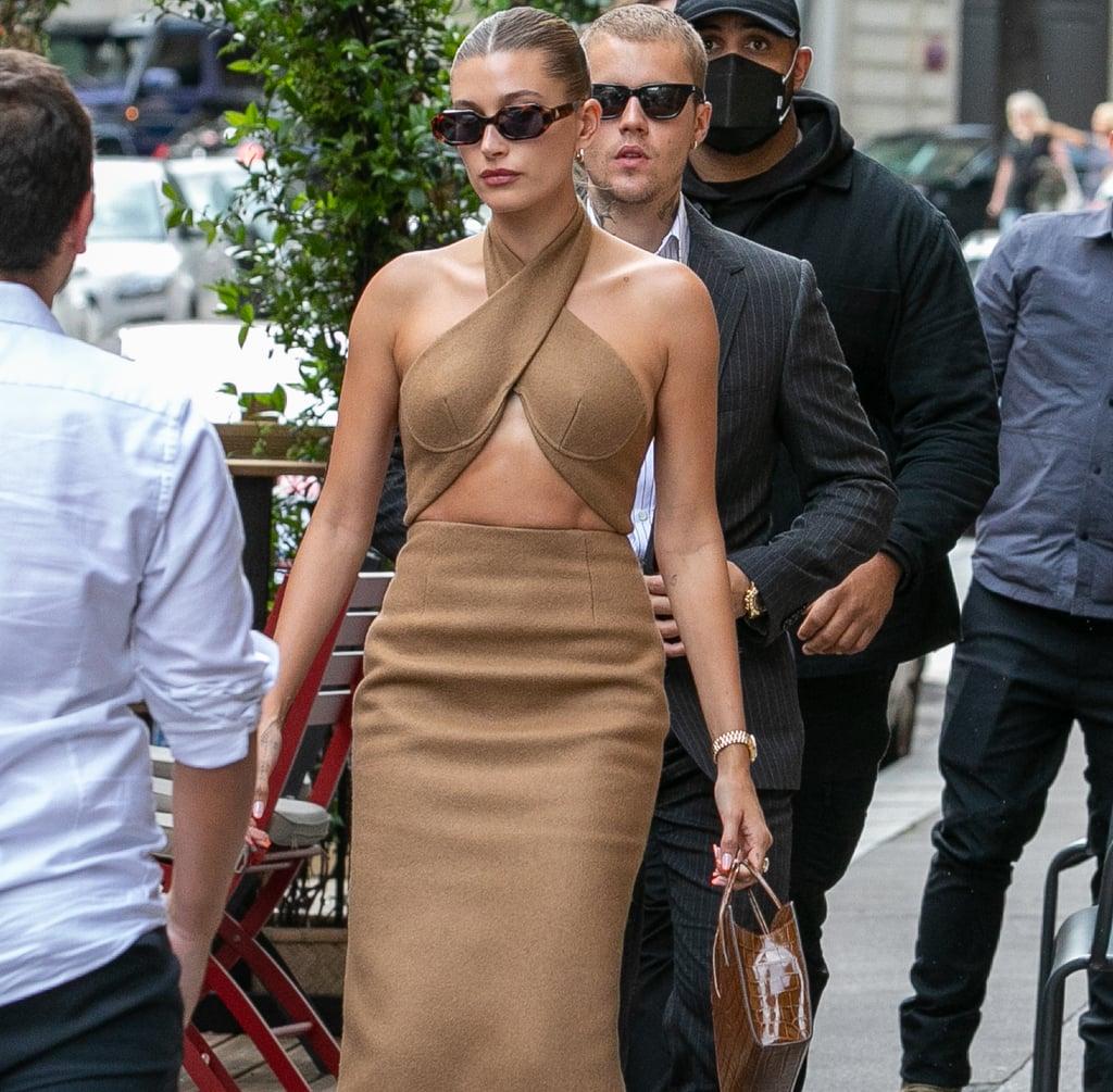 Hailey Bieber's LaQuan Smith Cutout Dress in Paris