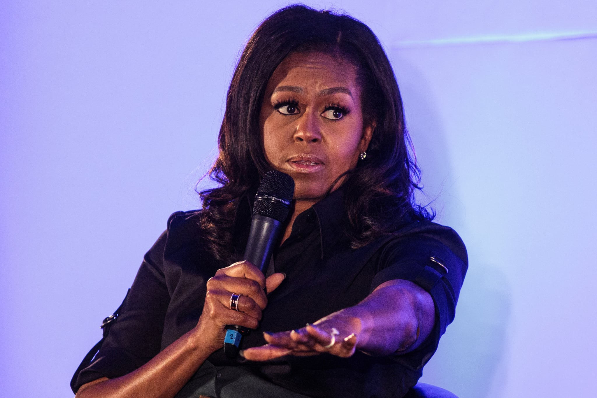 LONDON, ENGLAND - DECEMBER 03: Former U.S. First Lady Michelle Obama speaks at an event at the Elizabeth Garrett Anderson School on December 03, 2018 in London, England. The former First Lady's memoir titled 'Becoming' has become the best selling book in the US of 2018 according to figures released by her publisher Penguin Random House. (Photo by Jack Taylor/Getty Images)