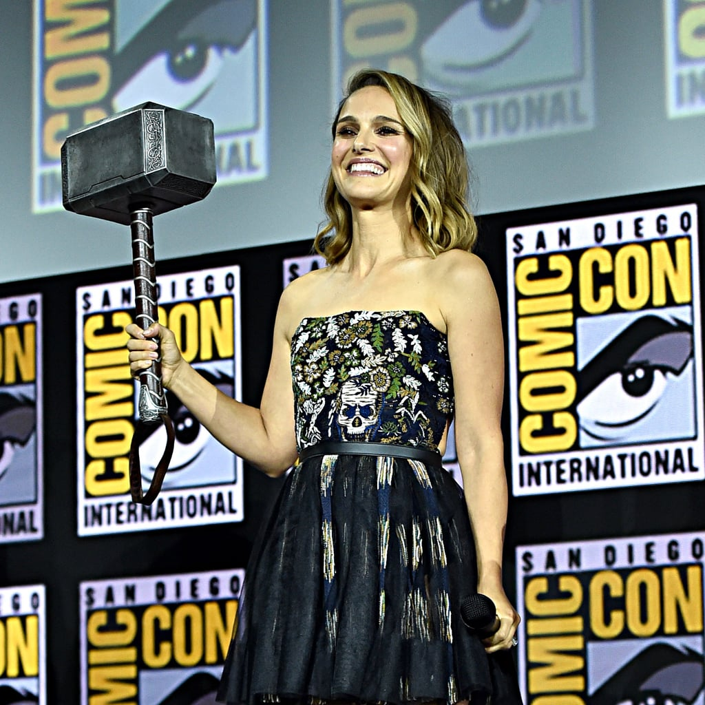 Natalie Portman just proved she's worthy of wielding Thor's hammer while at Comic-Con with the bright blond highlights she got earlier this month. The 38-year-old actress is returning to the franchise alongside Chris Hemsworth and Tessa Thompson in Thor: Love and Thunder, as a female version of the Norse god.  The actress's face-framing golden-blond highlights stood out against her medium-brown hair, which was styled into loose waves and a deep side-part for the event.  Considering how blond Thor is, we're eager to see if this colour is a hint that Portman will be getting progressively blonder the closer we get to the film's release date, in November 2021.  Check out Portman's highlights, ahead.