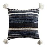Stripe Pom Square Indigo Pillow