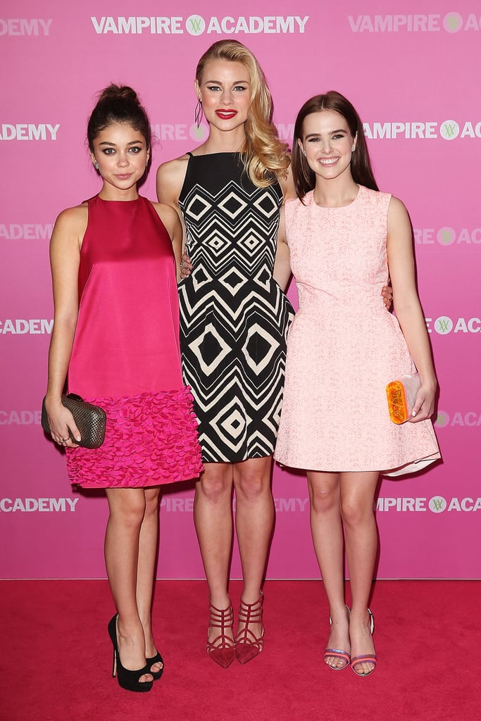 Sarah Hyland attended the Sydney premiere of Vampire Academy with her co-stars Lucy Fry and Zoey Deutch on Feb. 20.