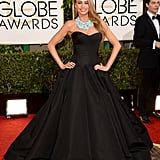 Sofia Vergara pumped up the volume with a black gown at the Golden Globes.