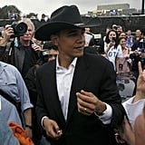 Doing his best cowboy impression while at an Austin rally during his presidential campaign in 2007