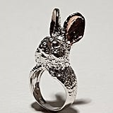 Sterling Silver and Enamel Rabbit Ring