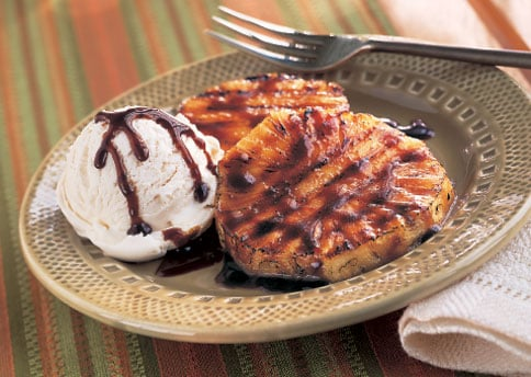 Grilled Cardamom-Scented Pineapple With Vanilla Ice Cream Recipe