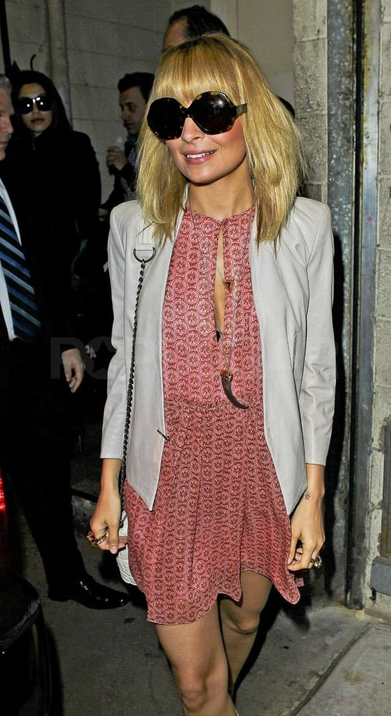 Nicole Richie donned dusty rose for her TV appearance.