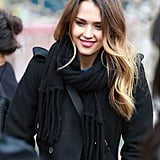 Jessica Alba chatted with a friend while waiting outside during the Sundance Film Festival.