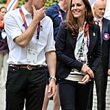 Prince William and Kate Middleton were touring the accommodations for Team GB in the athletes village.