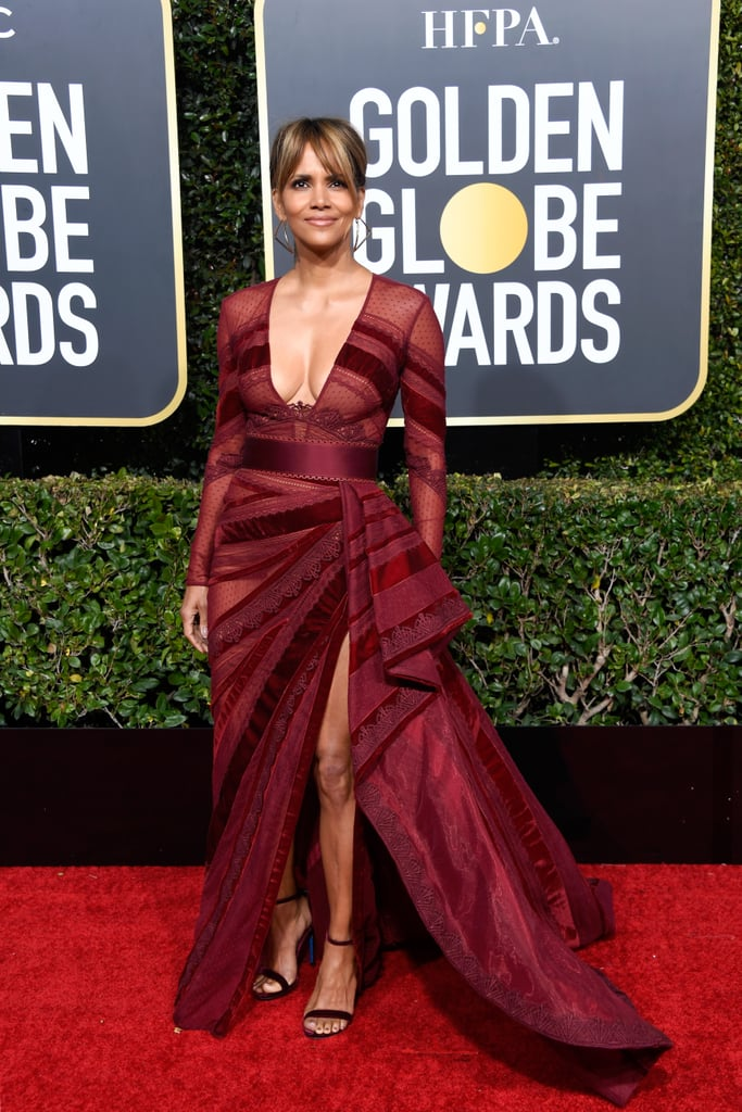 She looked like a total star in this sheer-paneled Zuhair Murad dress at the Golden Globes in 2019.